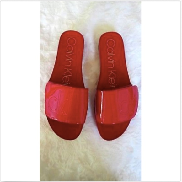 5b4d510a57d41 CALVIN KLEIN 'MARLINA' Red LOGO Flat Sandals